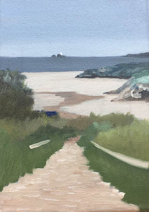 Painting Godrevy from St Uny's Church