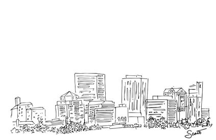 Dayton Skyline Line Drawing